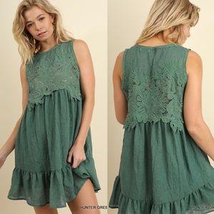 KRISTIN Crochet Detail Ruffle Hem Dress - H. GREEN